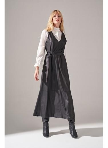 Mizalle Suni Deri Siyah Jile Elbise Siyah